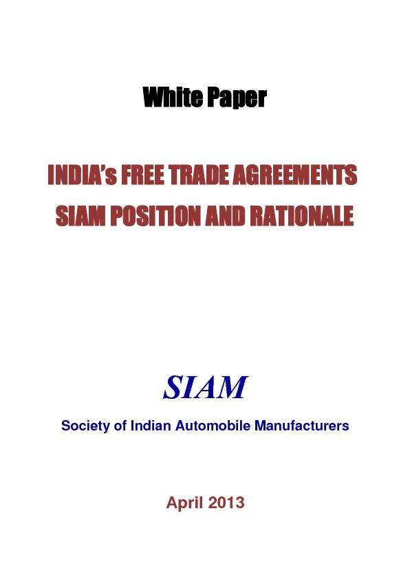 Indias Free Trade Agreements Siam Position And Rationale Et Auto