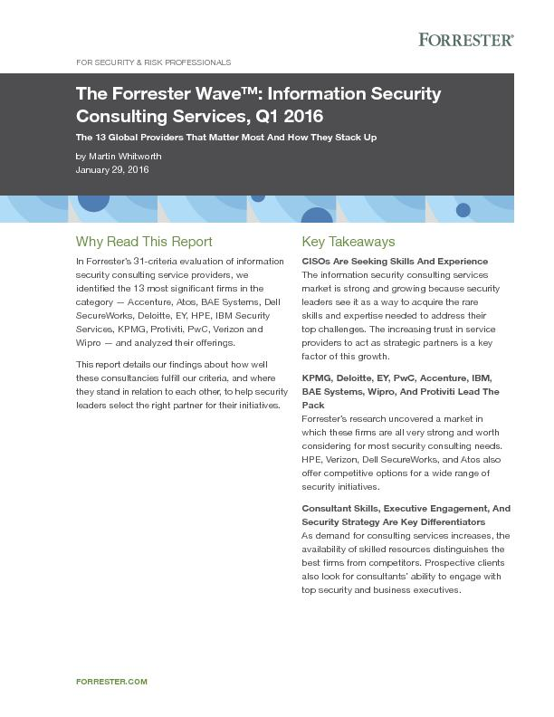 The Forrester Wave: Information Security Consulting Services, Q1